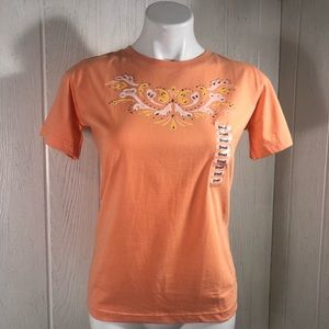 NWT Grand Ole Opry Tee Rhinestones Peach Orange S